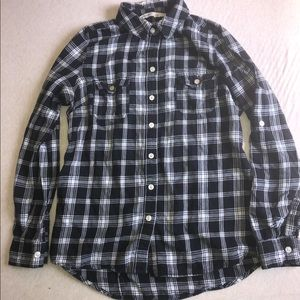 Tops - Old Navy Black Plaid Button Down Top